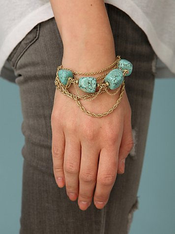 Twisted Chain & Rock Bracelet