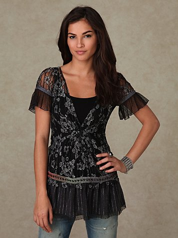 Short Sleeve Lace Tunic