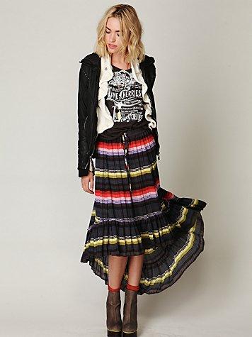 Crinkle Pleated Hi-Low Skirt
