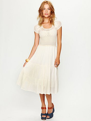 Copal Crochet Short Sleeved Tiered Dress