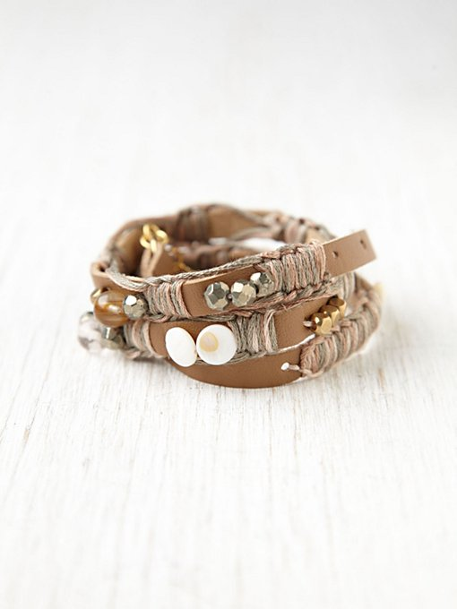 Kay Court Leather and Bead Wrap Bracelet
