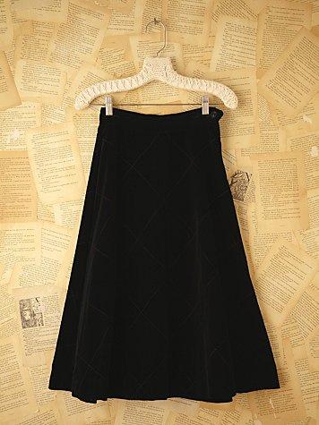 Vintage Quilted Velvet Skirt