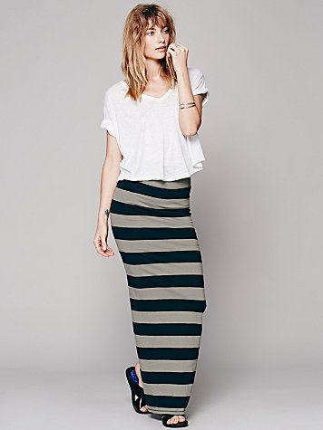 Rugby Stripe Column Skirt