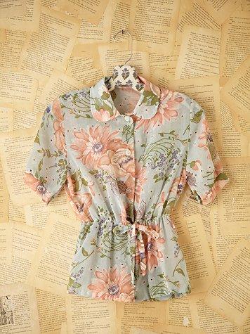 Vintage Floral Tie Waist Shirt