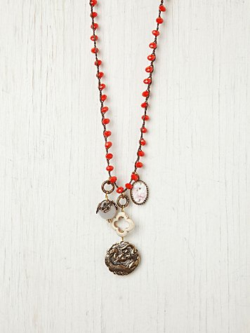 Orange Bead and Vintage Charm Pendant