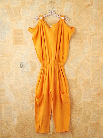 Vintage Orange Cotton Romper