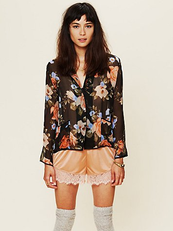 Sheer Floral Buttondown Top