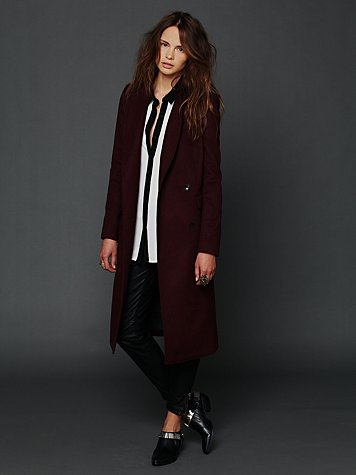 Bordeaux Maxi Wool Coat
