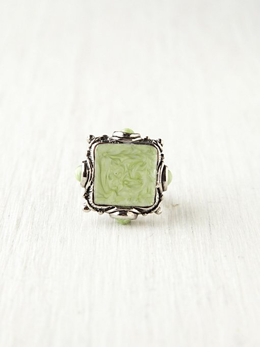 Sea Enamel Square Ring