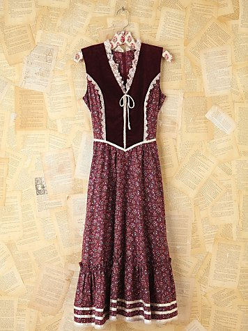 Vintage Maroon Velvet Dress