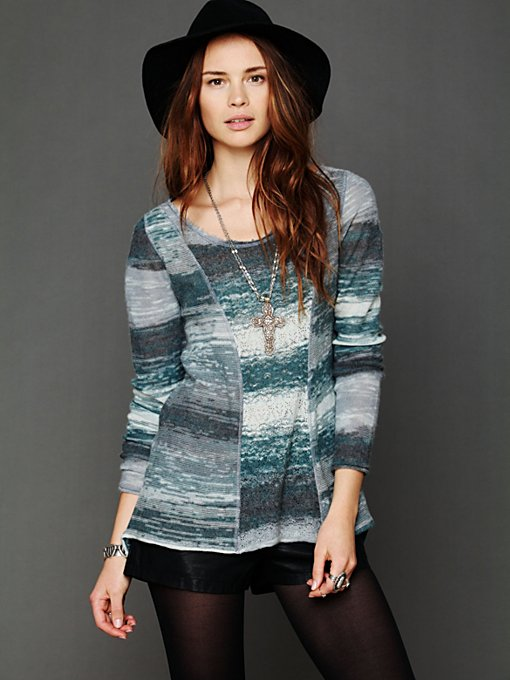 Marled Boxy Lace Pullover