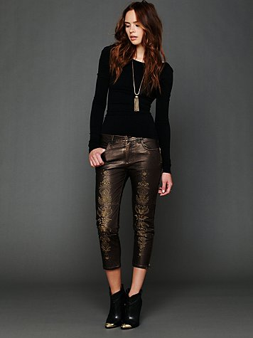 Embroidered Vegan Leather Pant