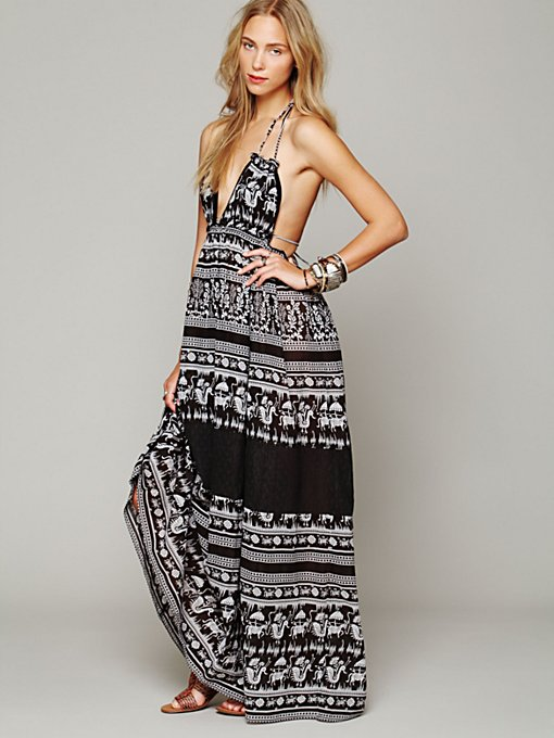 Printed Triangle Top Maxi Dress