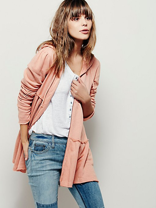 Tiered Trapeze Zip Sweatshirt