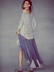 Lace Back Oversized Pullover