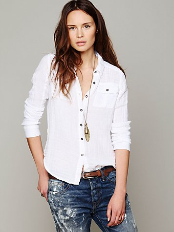 Solid Gauze Button Down