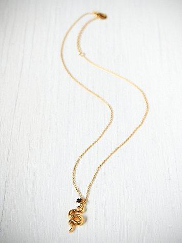 Black Garnet Snake Necklace