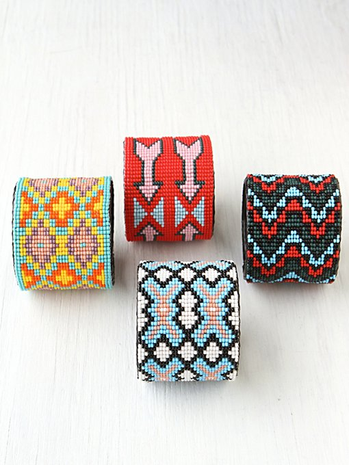 Beaded Design Large Cuff