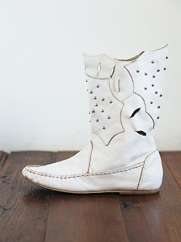 Vintage White Leather Laser Cut Boots