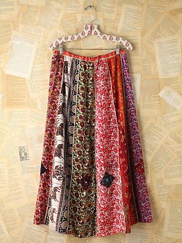 Vintage Multi Printed Panel Skirt