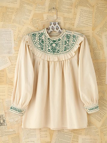 Vintage Embroidered Cotton Blouse