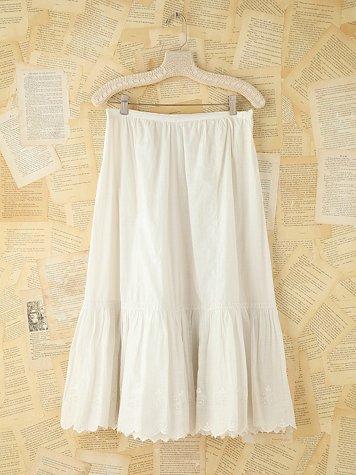 Vintage Crochet Trimmed Cotton Skirt