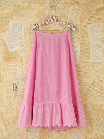 Vintage Pink Embroidered Skirt