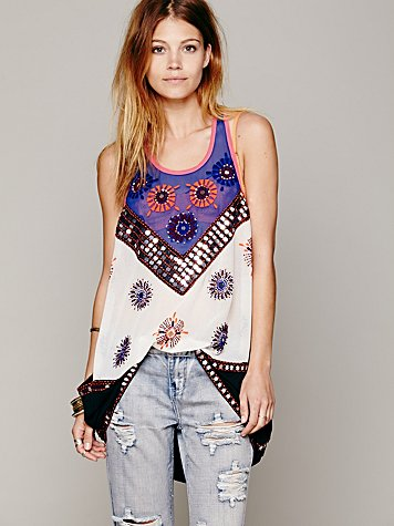 FP New Romantics Beaded Sleevess Tunic