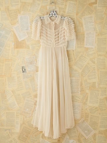 Vintage Sheer Ruffled Maxi Dress