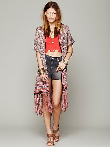 Fringe Hooded Cardigan