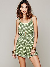 Printed Dot Romper
