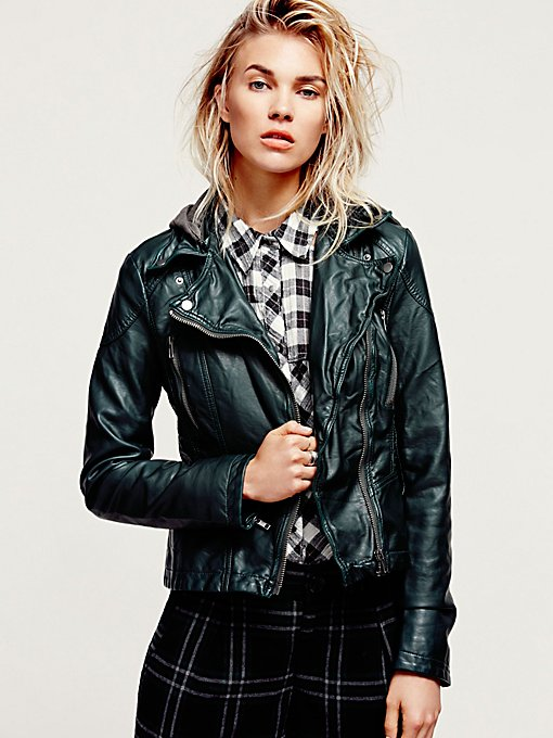 Vegan Leather Hooded Jacket
