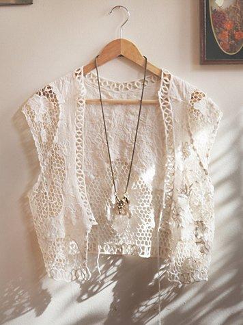 Floral Pattern Crochet Vest