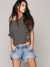 We The Free Boxy Crop Stripe Tee