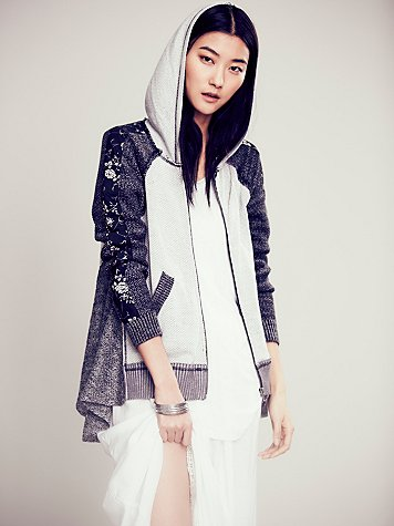 Textured Piece Zip Up Hoodie