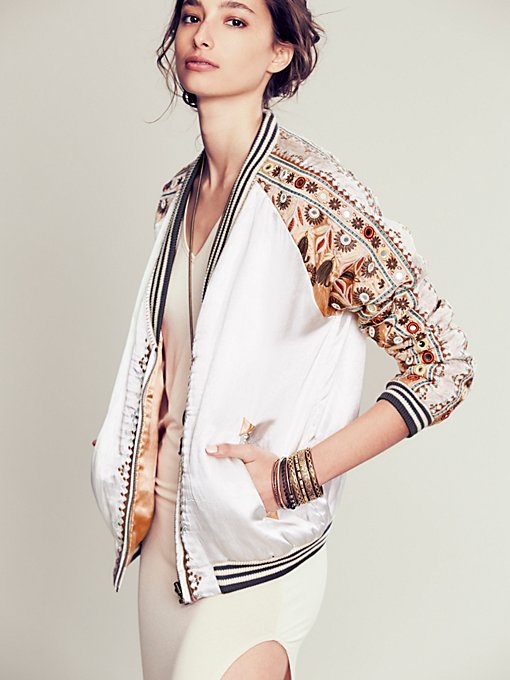 FP New Romantics Embellished Baseball Jacket