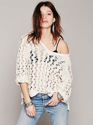 Open Stitch V-Neck Pullover