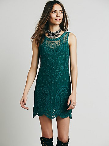 Embroidered Net Shift Dress