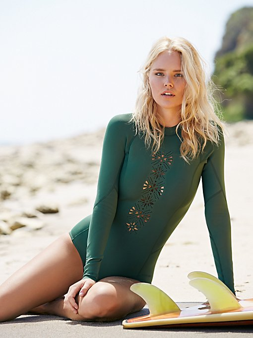 Lasercut Long Sleeve One Piece