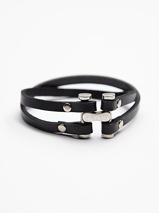 Steel Clasp Leather Cuff