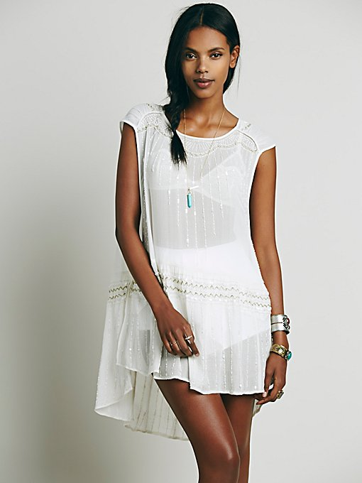 Sleeveless Embellished Dropwaist Tunic