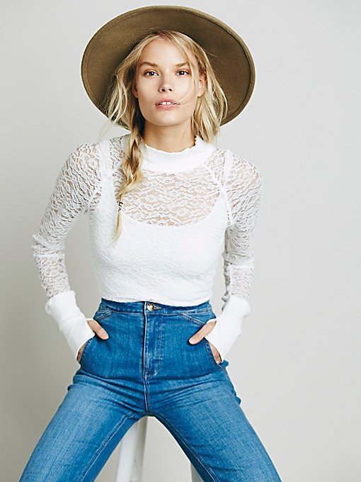 Mock Neck Lace Layering Top