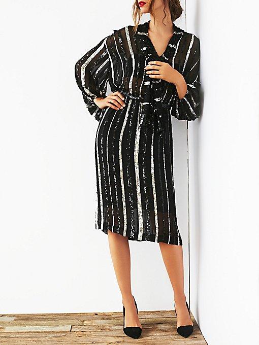 FP Vintage Sequin Stiped Dress