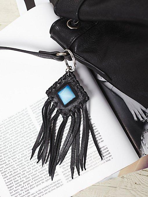 Leather & Crystal Amulet Keychain