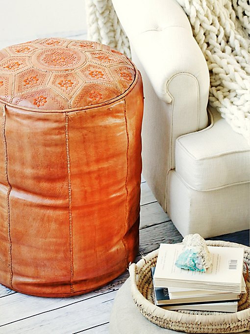 Vintage Leather Pouf
