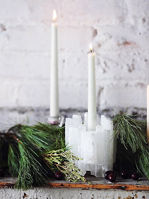 Selenite Taper Candle Holder
