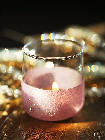 Pink glittered votive